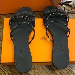 Hermes Black Sandal